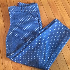 Blue and white polka dot pants.
